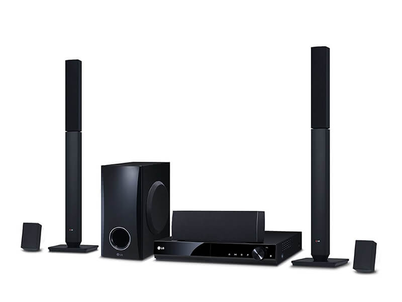 LG 5.1Ch 1000-watt DVD Home Theatre System with 2 Tall-Boy Speakers, Bass Blast Subwoofer, 1080p Up-scaling – LHD647 Home Theatre Systems Home Theatre