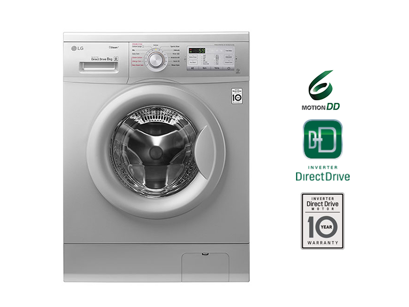 LG 8kg Steam Front Loading Washing Machine, 6 motion Direct Drive – FH4G7TDY5 Front Load Washers LG Washing Machines