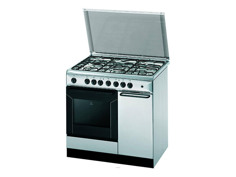 INDESIT Gas Cooker (5 Gas with Electric Oven + Grill) – K9F71SB(X)/I - A white microwave oven sitting on top of a stove - Cooking Ranges