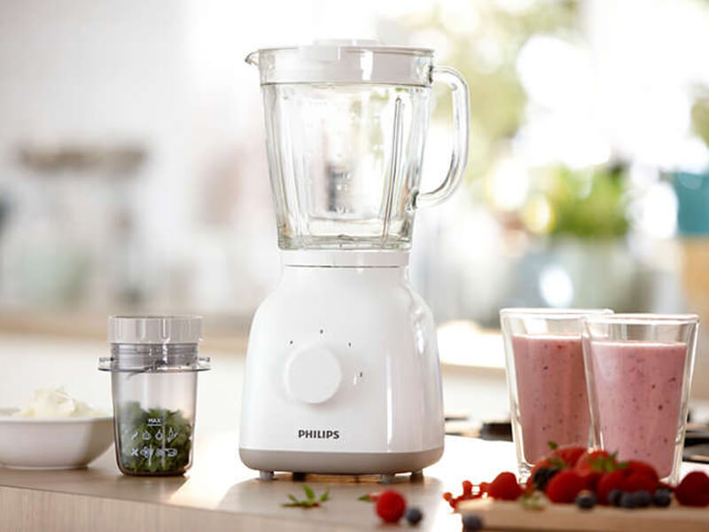 Philips Smoothie Glass Jar Blender + Mill HR2106, 1.5L, 400W