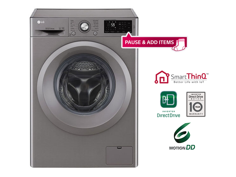 LG 6kg Front Loading Washing Machine with 'Add Items' + AI SmartThinQ™ – F2J5NNP7S Front Load Washers LG Washing Machines