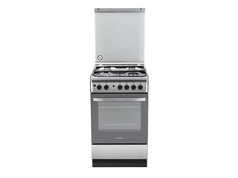 Ariston 4 Gas Cooker with Gas Oven + Grill, 50cm – A5GG1F (X) EX
