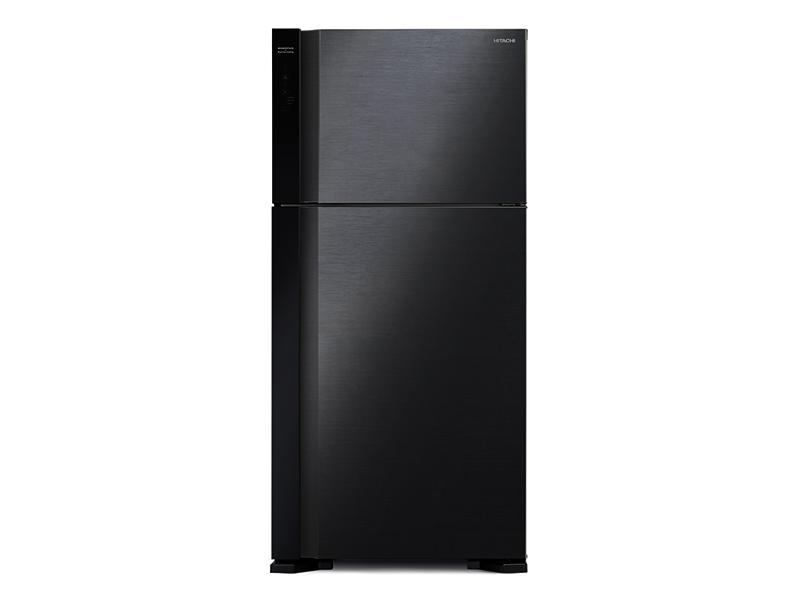 Hitachi 560-liter Double Door Refrigerator with Inverter Compressor, Brilliant Black – RV750PUN7KBBK; Frost Free Top Mount Freezer, Dual Fan Cooling Double Door Fridges