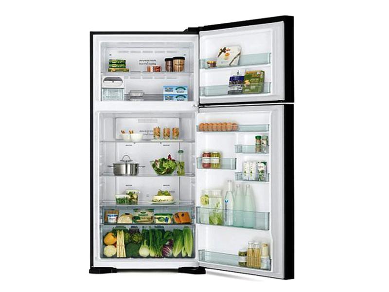 Hitachi 560-liter Double Door Refrigerator with Inverter Compressor, Brilliant Silver – RV750PUN7KBSL – Frost Free Top Mount Freezer, Dual Fan Cooling Double Door Fridges