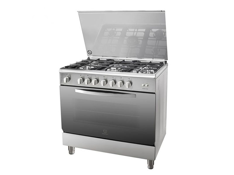 Indesit 5 Gas Cooker with Wide Gas Oven & Flame Failure Protection, 90cm – I95T1CX