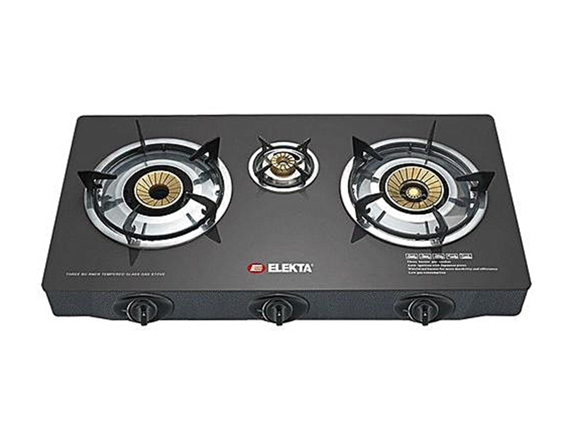 Elekta 3 Burner Tempered Glass Gas Stove with Auto Ignition – EGC-305 GB