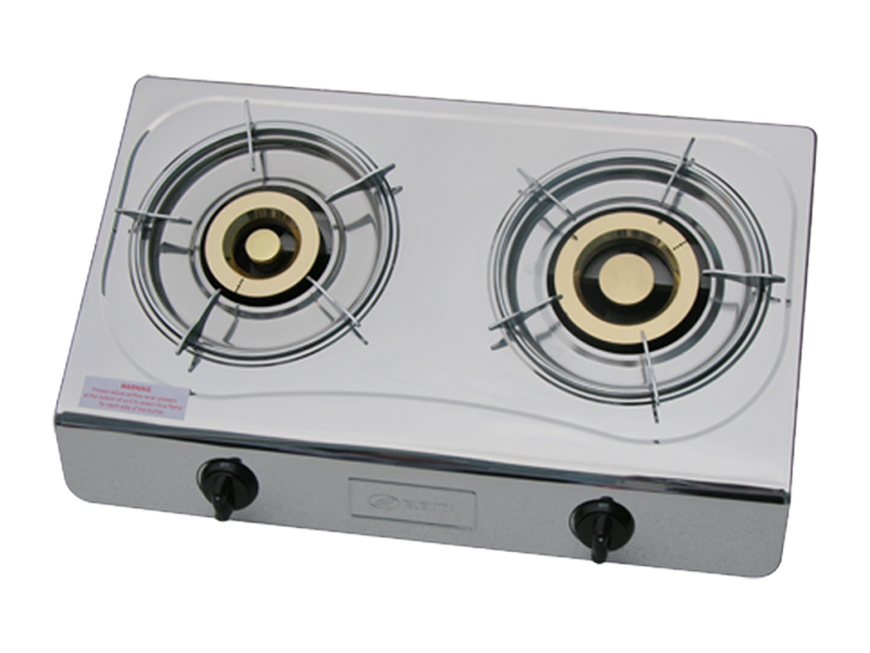 Elekta Double Burner Gas Stove, Stainless Steel Top + Auto Ignition EGS-25N