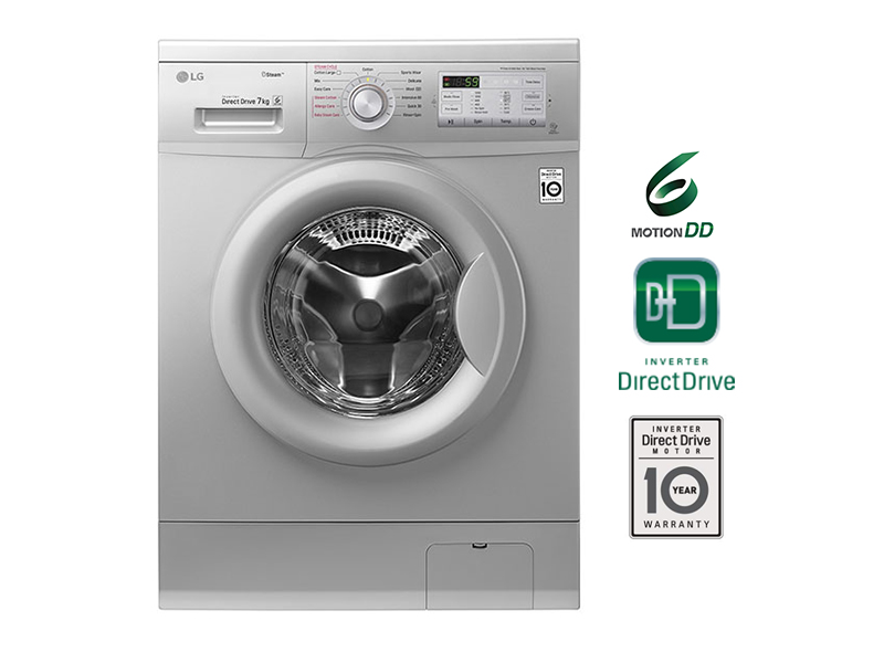 LG 7kg Steam Front Loading Washing Machine, 6-motion Direct Drive – FH2G7QDY5 Front Load Washers LG Washing Machines