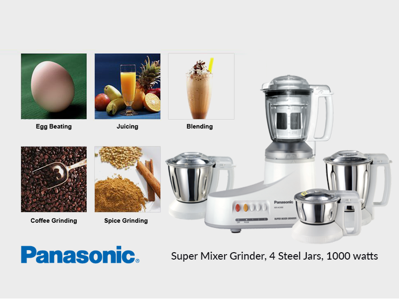 Panasonic Super Mixer Grinder with 4 Steel Jars MXAC400, 1000W