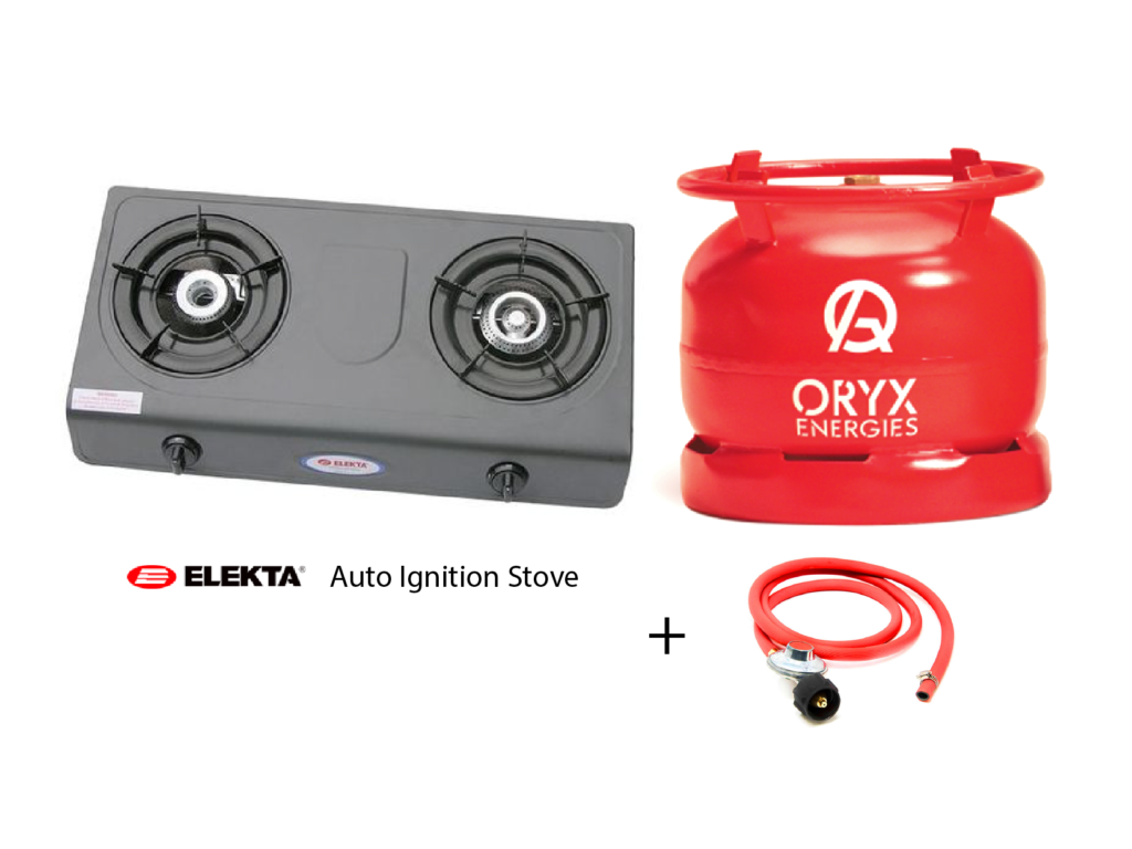 Elekta 2 Burner Gas Stove with 6kg Oryx Gas. Full Set, Automatic Ignition LPG Cooking Gas