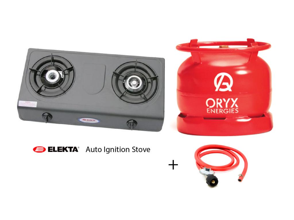 Elekta Auto Ignition Gas Stove with 6kg Oryx Gas. Full Set