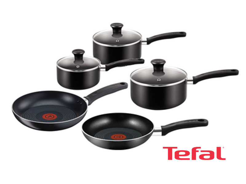 Tefal 5-Piece Essential non-stick Pots and Pans  Cooking set, Black –  B372S544; Gas and Electric Pots and Pans Set Pots & Pans Sets Non-stick pans