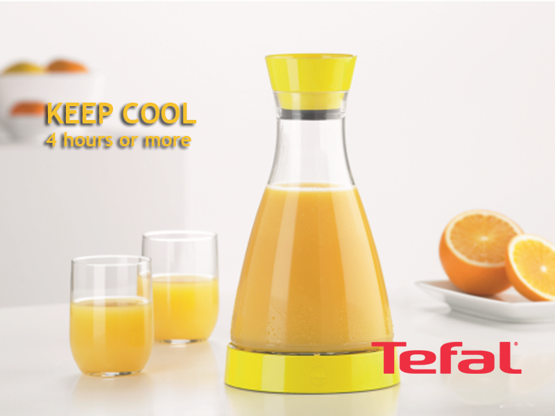 TEFAL Flow Friend Cooling Jug, Yellow – 1 liter – K3056112 Drinkware