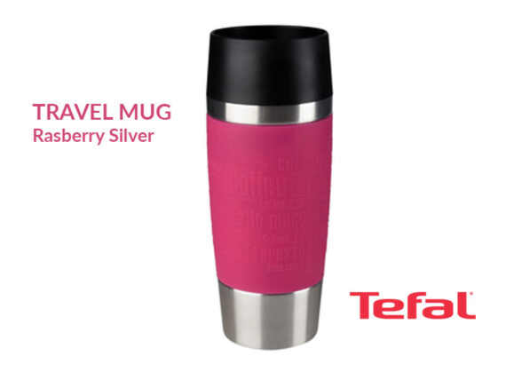 TEFAL Thermal Travel Mug 0.36 liter, Raspberry Silver – K3087114 Drinkware