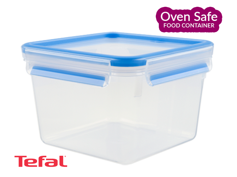 Tefal Oven-safe MasterSeal Plastic Food Storage Container, Square, Blue 1.75l – K3021712_ Ovensafe Food Containers Oven Dishes