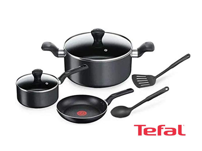 Tefal Aluminum Super Cook Non-Stick Pots and Pans Cooking Set 7pcs, Black – B143S744