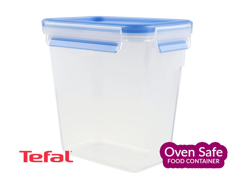 Tefal MasterSeal Fresh Rectangle Food Storage, Clear-Blue, 1.6l – K3021912 Ovensafe Food Containers Oven Dishes