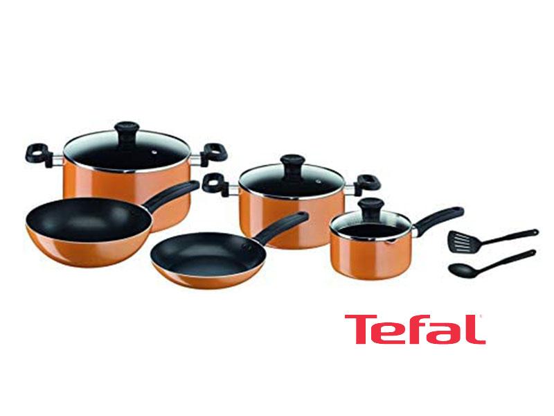 Tefal 10 pieces Prima Cooking Set, Orange/Black – B168A474; Gas and Electric Pots & Pans Sets