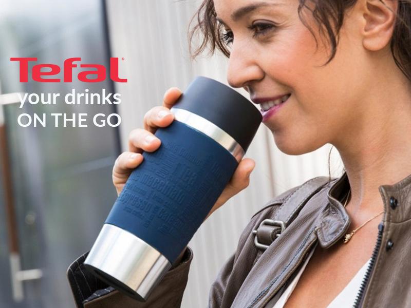 TEFAL Thermal Travel Mug 0.36 L, Blue Silver – K3082114