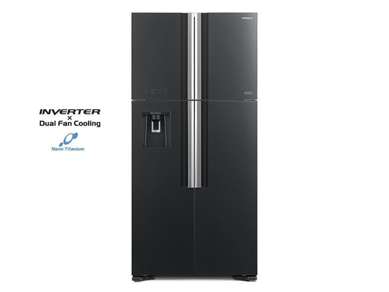 Hitachi 600L 4-Door Refrigerator + Water Dispenser, Inverter Control, Frost-free, Glass Grey – RW800PUN7GGR Side by Side Refrigerator 4-door refrigerators