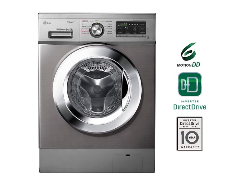 LG 9kg Steam, 6-motion DD Front Loading Washing Machine, Chrome Knob – FH4G6VDYG6 Front Load Washers LG Washing Machines