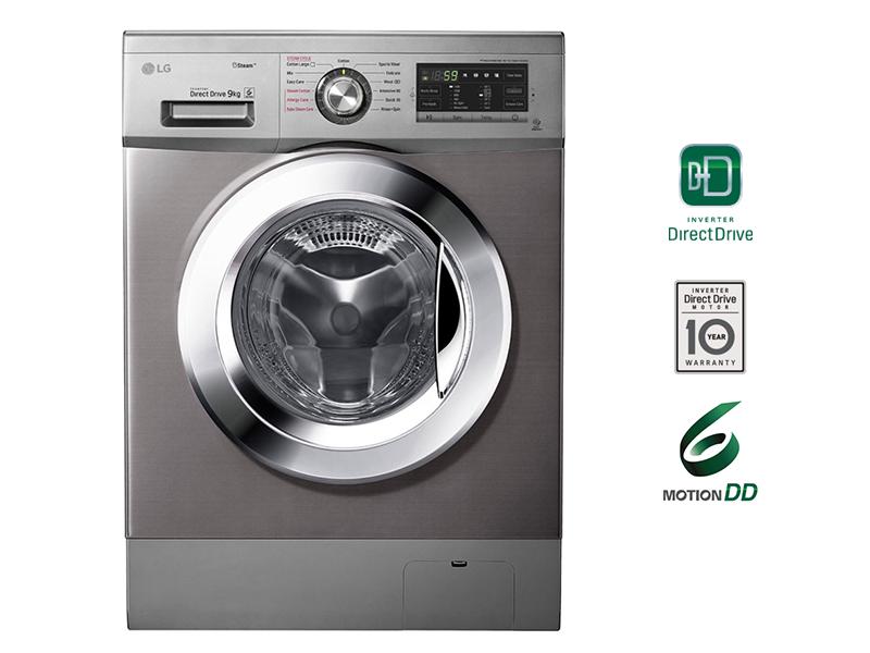 LG 9/5kg Washer Dryer with Steam, Front Load- Chrome Door Wash – FH4G6VDGG6 Front Load Washers front load washing machine