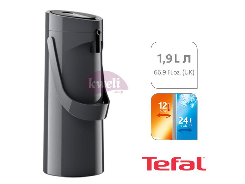 Tefal Ponza Pump, Vacuum Jug, 1.9-liter, Black – K3140114 Vacuum Flasks/Jugs