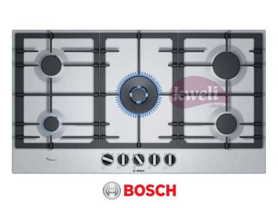 Bosch Gas Hob, 5 Gas, 90cm Stainless steel – PCR9A5B90 Built-in Hobs