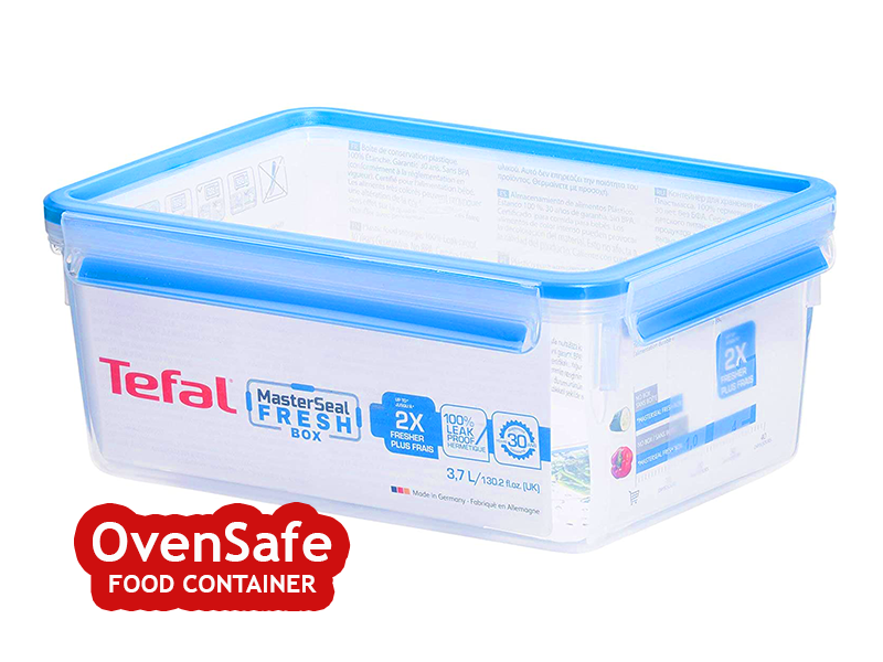Tefal 3.7-liter Ovensafe Plastic Food Storage Container, Rectangular – Clear Blue K3022012 Ovensafe Food Containers Oven Dishes