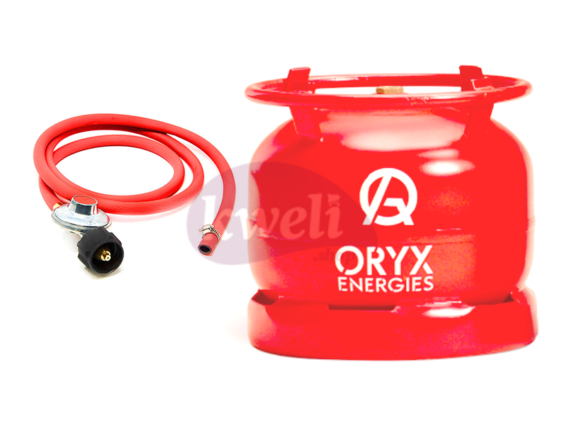 Oryx 6kg Gas Set – Filled Gas Cylinder with Regulator and Hosepipe LPG Cooking Gas