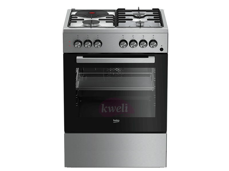 BEKO Cooker 60cm FSET 63110 DX, 3 Gas + 1 Hotplate with Fan Assisted Electric Oven & Grill, Gas Safety (Flame Failure); Automatic Gas Cut-off Combo Cookers