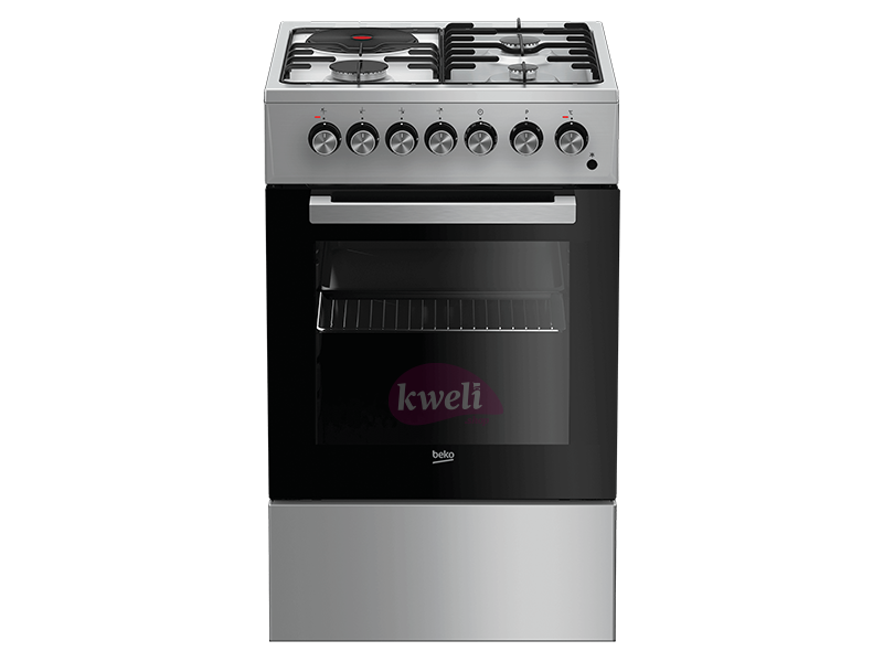 Beko Cooker 50cm x 60cm FSS53110GS; 3 Gas + 1 Electric Hot plate, Electric Oven and Grill, Timer, Rotisserie, Glass Lid Combo Cookers