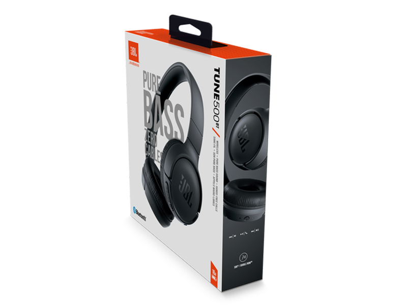 JBL Headphones T500 BT-BLK; Over Ear Bluetooth Wireless Headphones with Pure Bass Sound – Headset with Built-in Remote / Microphone Headphones