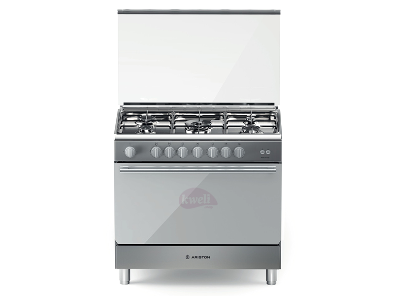 Ariston 5 Gas Cooker with Wide Gas Oven and Rotisserie BAM951EGSS, 90cm x 60cm Gas Cookers