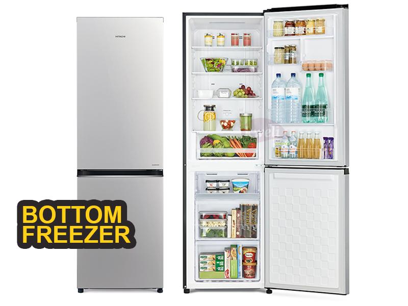 Hitachi 320-liter Double Door Refrigerator with Bottom Mounted Freezer, Frost Free – RB410PUN6PSV Double Door Fridges