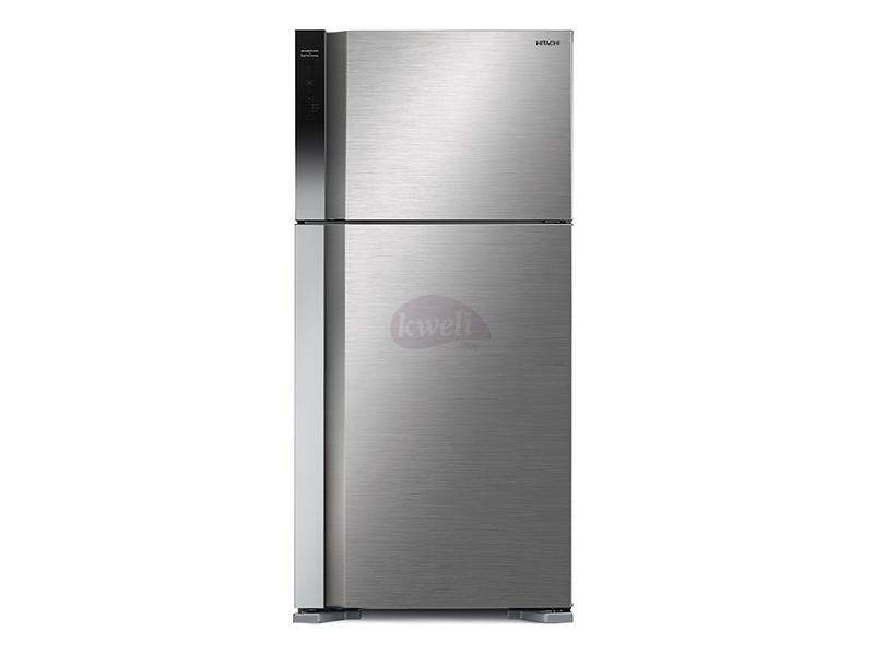 Hitachi 660-liter Refrigerator R-V800PUN7KBSL (Brilliant Silver) – Frost Free Top Mount Freezer,  Inverter Control Dual Fan Cooling, Touch Screen Control Double Door Fridges