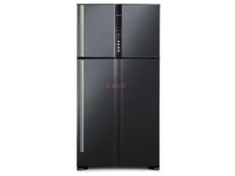 Hitachi 800-liter Refrigerator RV990PUN1KBBK – Double Door, Top Mount Frost Free Freezer, Dual Fan Cooling, Inverter Control, Touch Display – Brilliant Black Double Door Fridges