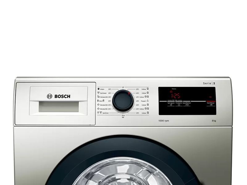 BOSCH 8kg Front Load Washing Machine WAJ2018SKE Serie | 2 Washing Machine, EcoSilence Drive™, VarioDrum,  ActiveWater Plus, ActiveVibration Design 1000rpm, Silver inox Front Load Washers