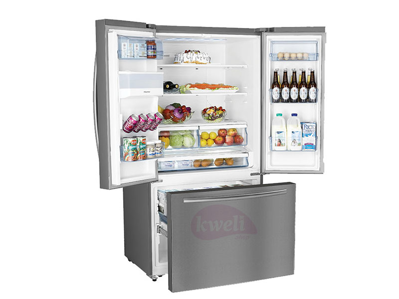 Hisense 697-liter French Door Refrigerator with Dispenser RF697N4ZS1 – Multi Door Refrigerator, Frost-free, Stainless Steel Finish Side by Side Refrigerator