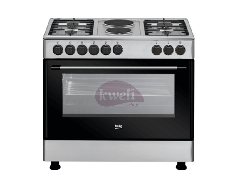 Beko Cooker 90cm Cooker with Fan-assisted Electric Oven GE 12121 DX – 4 Gas + 2 Electric Hot plate, Grill, Rotiserrie, Timer, Automatic gas cut-off Electric Ovens